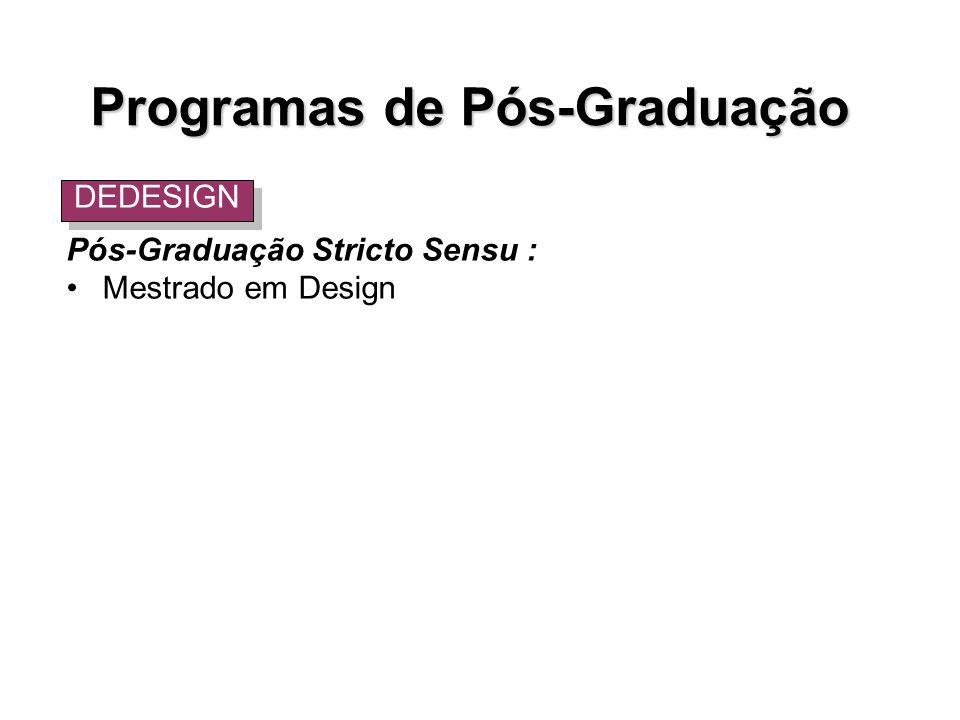Pós-Graduação Stricto Sensu : Mestrado em Design DEDESIGN Programas de Pós-Graduação