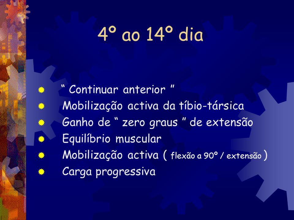 4º ao 14º dia Continuar anterior Mobilização activa da tíbio-társica Ganho de zero graus de extensão Equilíbrio muscular Mobilização activa ( flexão a