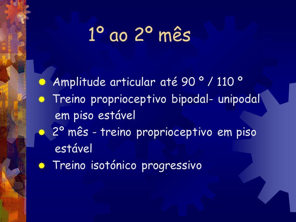 1º ao 2º mês Amplitude articular até 90 º / 110 º Treino proprioceptivo bipodal- unipodal em piso estável 2º mês - treino proprioceptivo em piso estáv