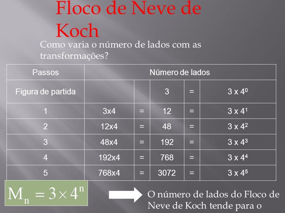 Floco de Neve de Koch Como varia o comprimento de cada lado com as transformações.