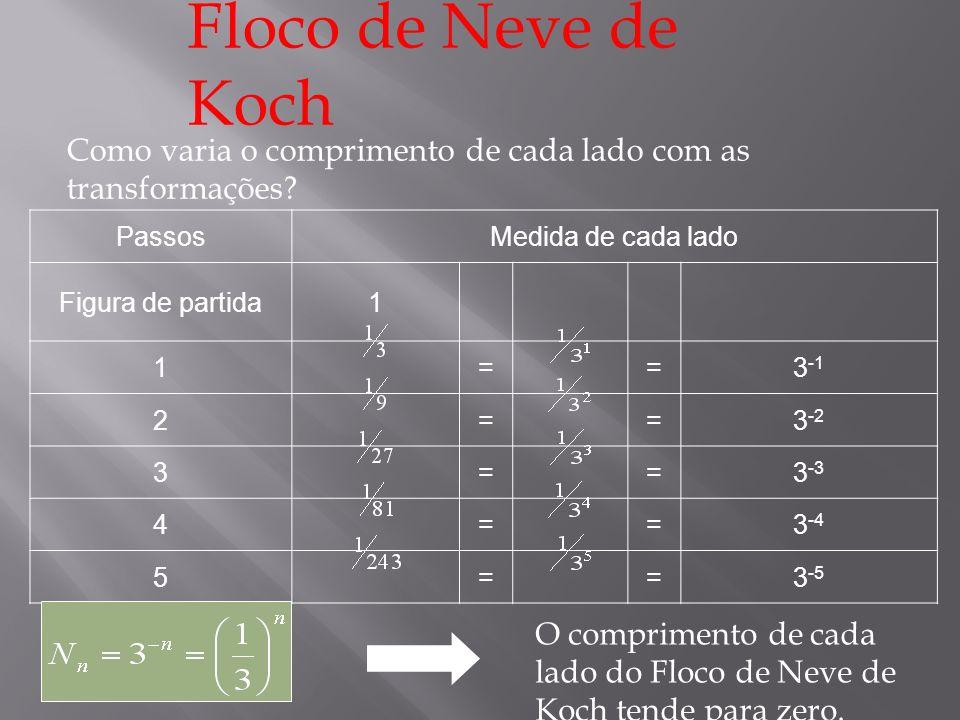Floco de Neve de Koch Como varia o perímetro da curva com as transformações.