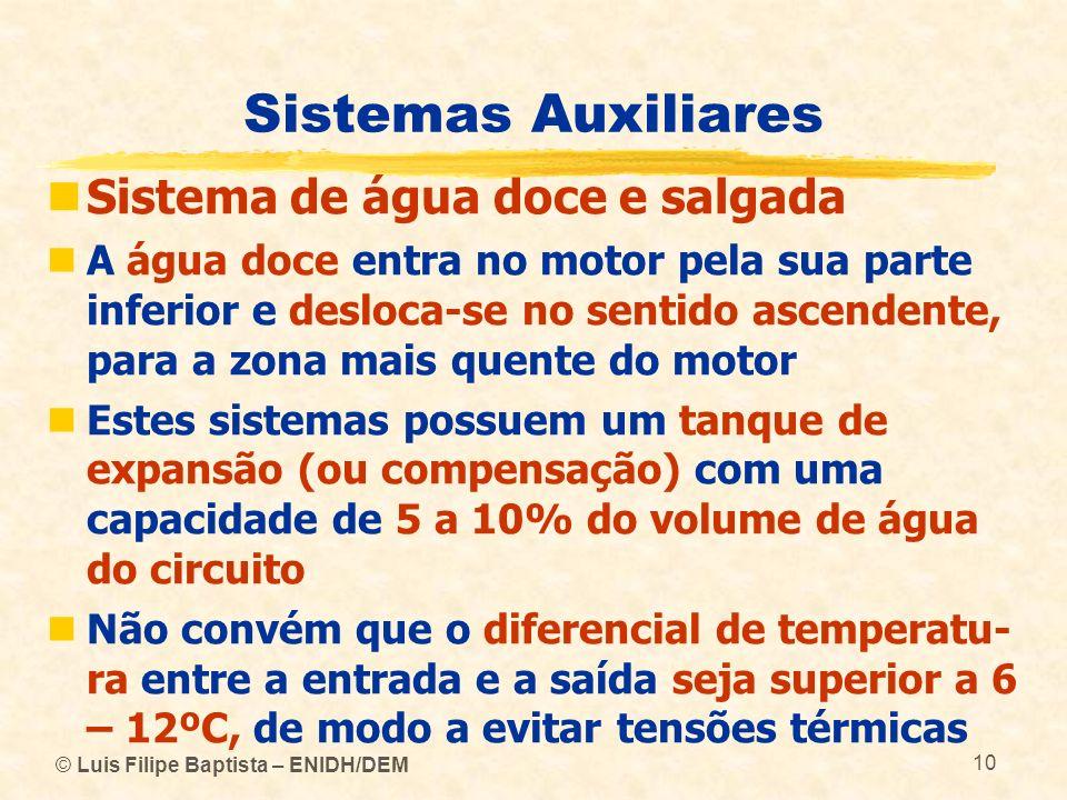 © Luis Filipe Baptista – ENIDH/DEM 10 Sistemas Auxiliares Sistema de água doce e salgada A água doce entra no motor pela sua parte inferior e desloca-