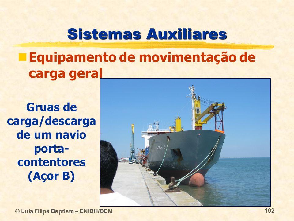 © Luis Filipe Baptista – ENIDH/DEM 102 © Luis Filipe Baptista – ENIDH/DEM 102 Sistemas Auxiliares Equipamento de movimentação de carga geral Gruas de