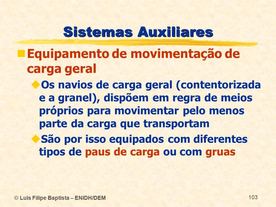 © Luis Filipe Baptista – ENIDH/DEM 103 © Luis Filipe Baptista – ENIDH/DEM 103 Sistemas Auxiliares Equipamento de movimentação de carga geral Os navios