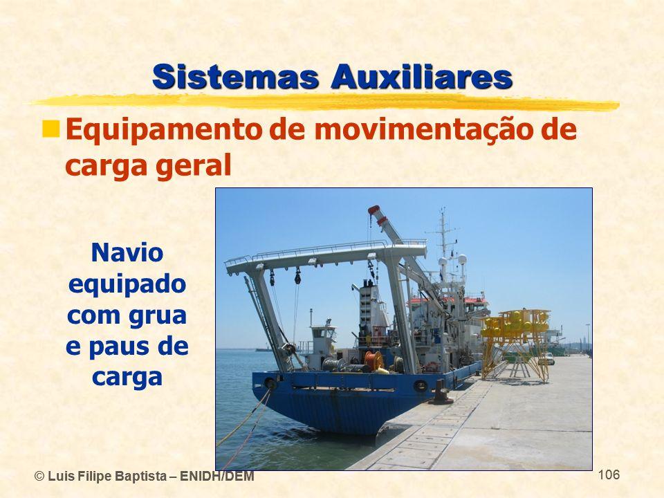 © Luis Filipe Baptista – ENIDH/DEM 106 © Luis Filipe Baptista – ENIDH/DEM 106 Sistemas Auxiliares Equipamento de movimentação de carga geral Navio equ