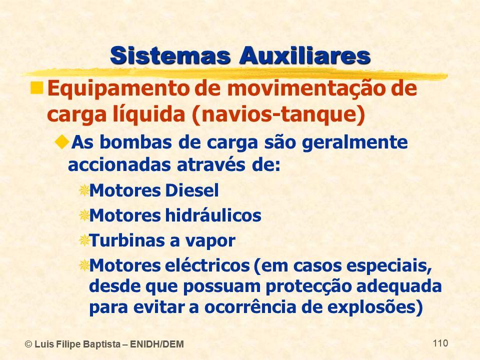 © Luis Filipe Baptista – ENIDH/DEM 110 © Luis Filipe Baptista – ENIDH/DEM 110 Sistemas Auxiliares Equipamento de movimentação de carga líquida (navios