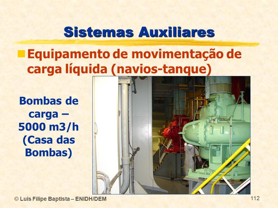 © Luis Filipe Baptista – ENIDH/DEM 112 © Luis Filipe Baptista – ENIDH/DEM 112 Sistemas Auxiliares Equipamento de movimentação de carga líquida (navios