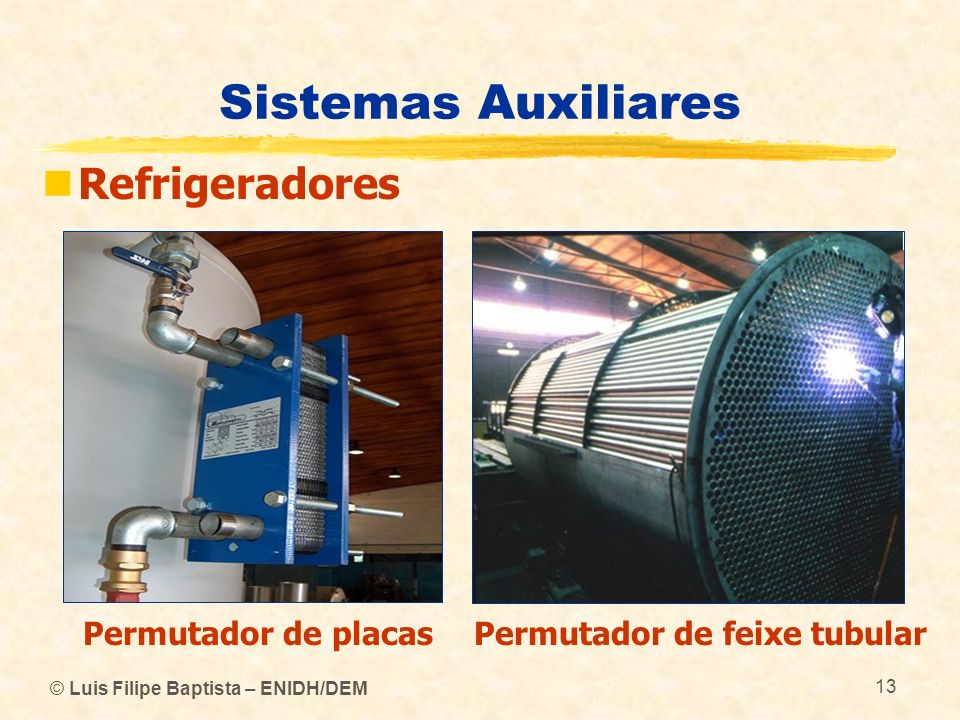 © Luis Filipe Baptista – ENIDH/DEM 13 Sistemas Auxiliares Refrigeradores Permutador de placasPermutador de feixe tubular