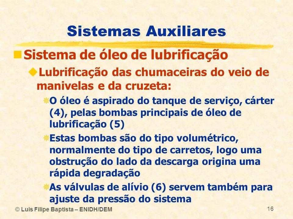 © Luis Filipe Baptista – ENIDH/DEM 16 Sistemas Auxiliares Sistema de óleo de lubrificação Lubrificação das chumaceiras do veio de manivelas e da cruze