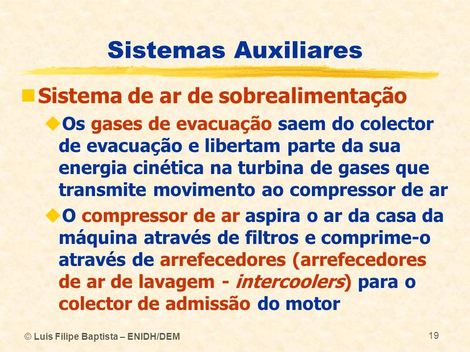 © Luis Filipe Baptista – ENIDH/DEM 19 Sistemas Auxiliares Sistema de ar de sobrealimentação Os gases de evacuação saem do colector de evacuação e libe