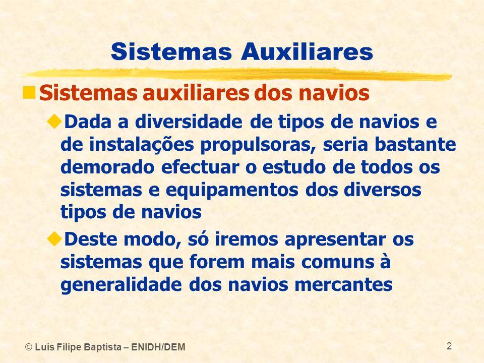 © Luis Filipe Baptista – ENIDH/DEM 2 Sistemas Auxiliares Sistemas auxiliares dos navios Dada a diversidade de tipos de navios e de instalações propuls