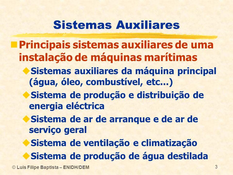 © Luis Filipe Baptista – ENIDH/DEM 3 Sistemas Auxiliares Principais sistemas auxiliares de uma instalação de máquinas marítimas Sistemas auxiliares da