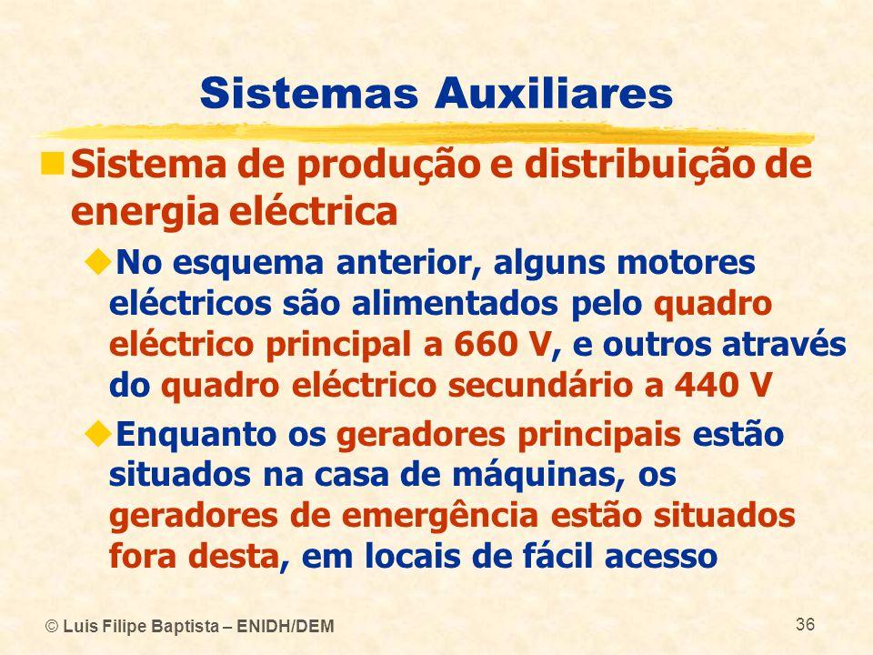 © Luis Filipe Baptista – ENIDH/DEM 36 Sistemas Auxiliares Sistema de produção e distribuição de energia eléctrica No esquema anterior, alguns motores