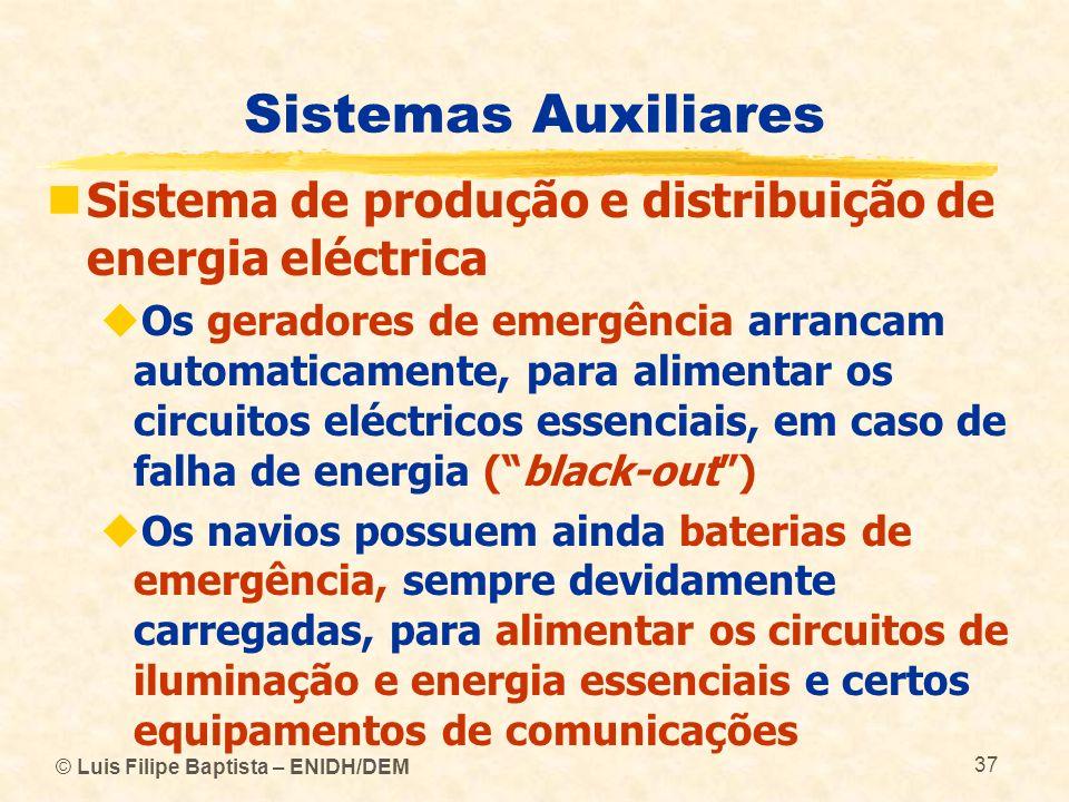 © Luis Filipe Baptista – ENIDH/DEM 37 Sistemas Auxiliares Sistema de produção e distribuição de energia eléctrica Os geradores de emergência arrancam