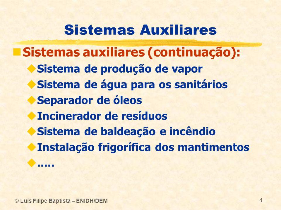 © Luis Filipe Baptista – ENIDH/DEM 4 Sistemas Auxiliares Sistemas auxiliares (continuação): Sistema de produção de vapor Sistema de água para os sanit