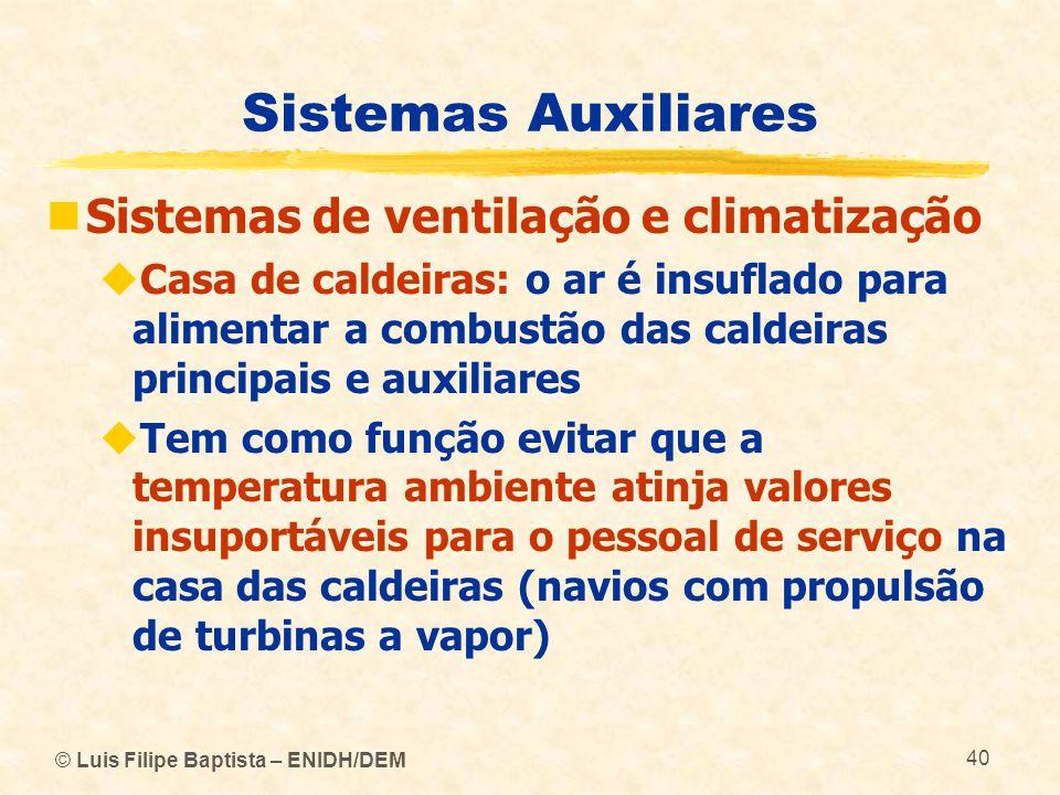 © Luis Filipe Baptista – ENIDH/DEM 40 Sistemas Auxiliares Sistemas de ventilação e climatização Casa de caldeiras: o ar é insuflado para alimentar a c