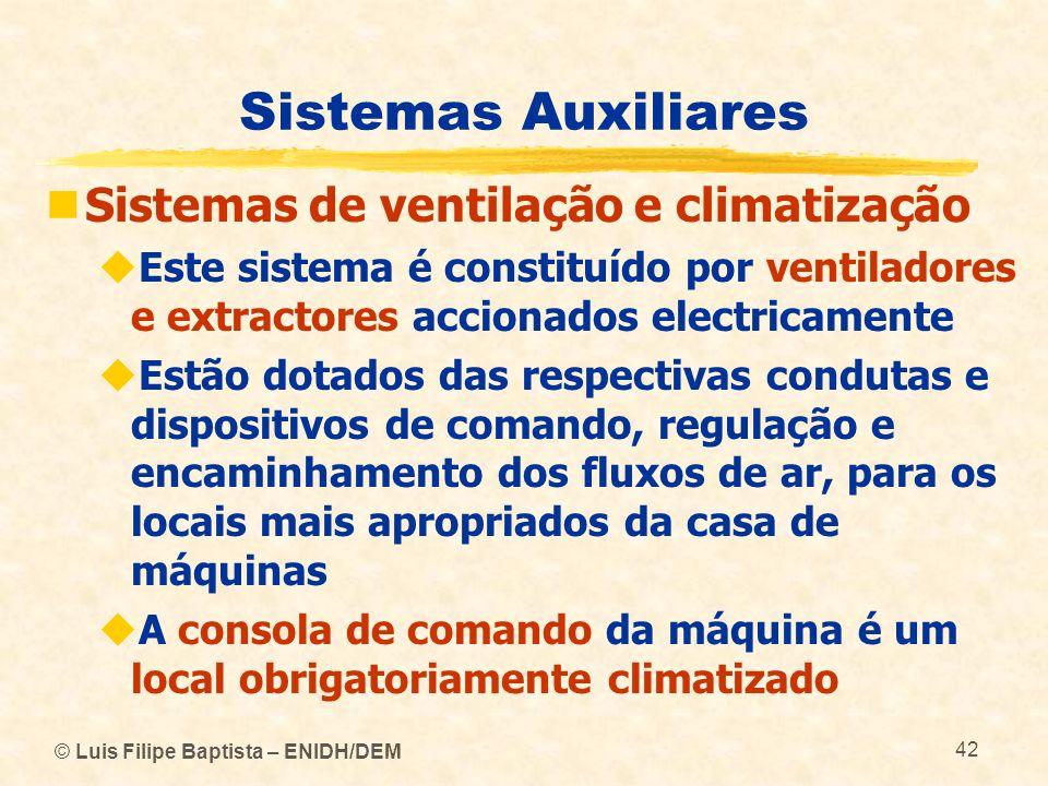 © Luis Filipe Baptista – ENIDH/DEM 42 Sistemas Auxiliares Sistemas de ventilação e climatização Este sistema é constituído por ventiladores e extracto