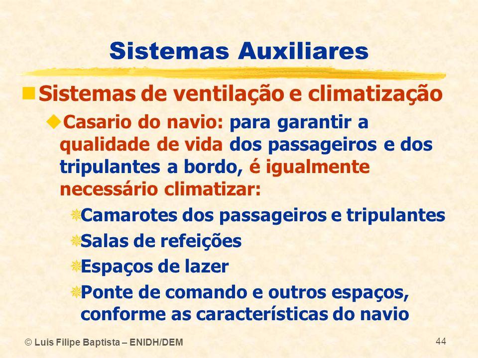 © Luis Filipe Baptista – ENIDH/DEM 44 Sistemas Auxiliares Sistemas de ventilação e climatização Casario do navio: para garantir a qualidade de vida do