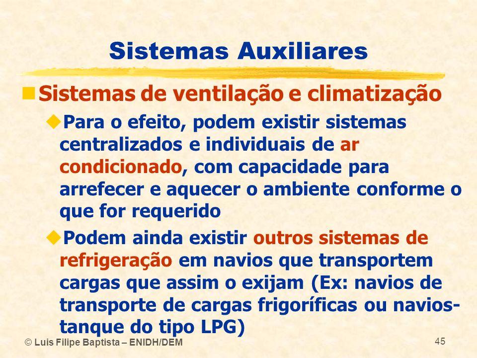 © Luis Filipe Baptista – ENIDH/DEM 45 Sistemas Auxiliares Sistemas de ventilação e climatização Para o efeito, podem existir sistemas centralizados e