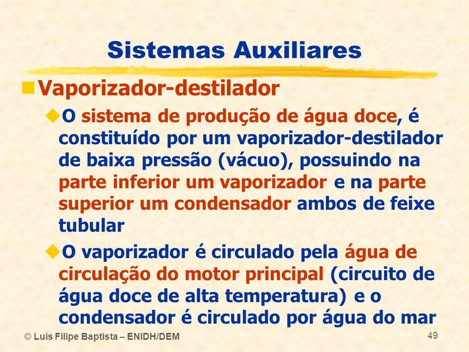 © Luis Filipe Baptista – ENIDH/DEM 49 Sistemas Auxiliares Vaporizador-destilador O sistema de produção de água doce, é constituído por um vaporizador-