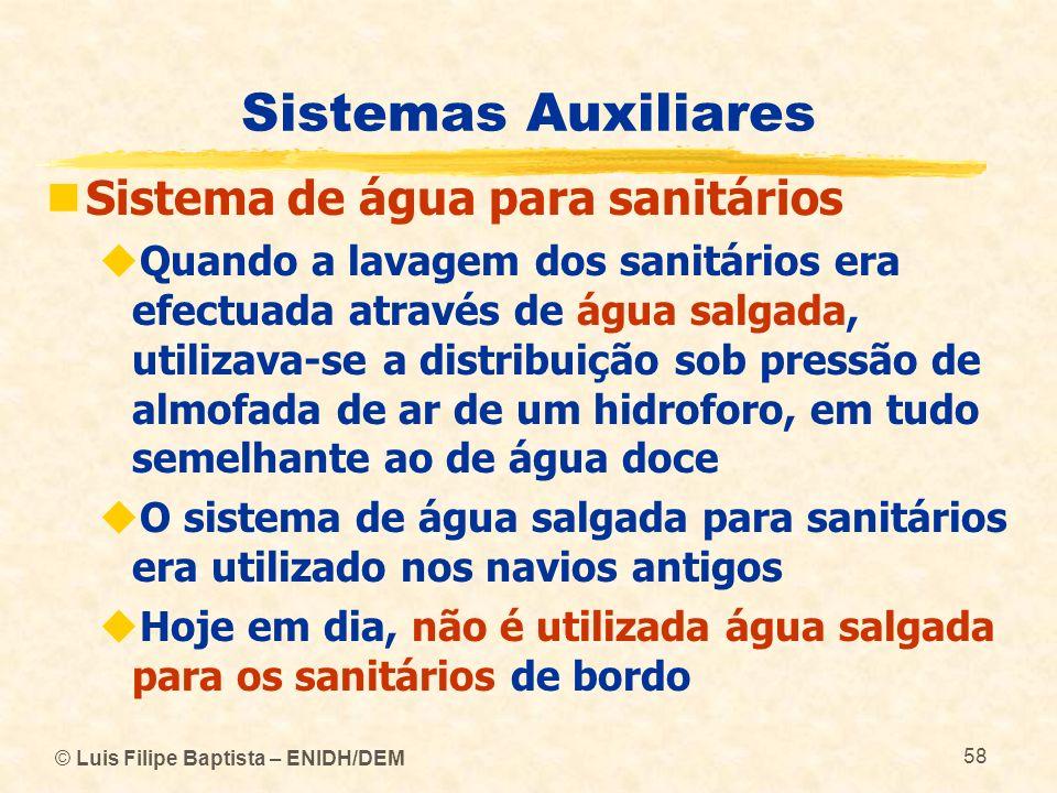 © Luis Filipe Baptista – ENIDH/DEM 58 Sistemas Auxiliares Sistema de água para sanitários Quando a lavagem dos sanitários era efectuada através de águ