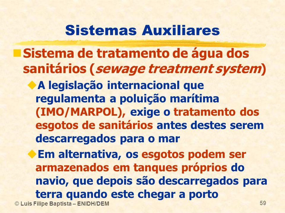 © Luis Filipe Baptista – ENIDH/DEM 59 Sistemas Auxiliares Sistema de tratamento de água dos sanitários (sewage treatment system) A legislação internac
