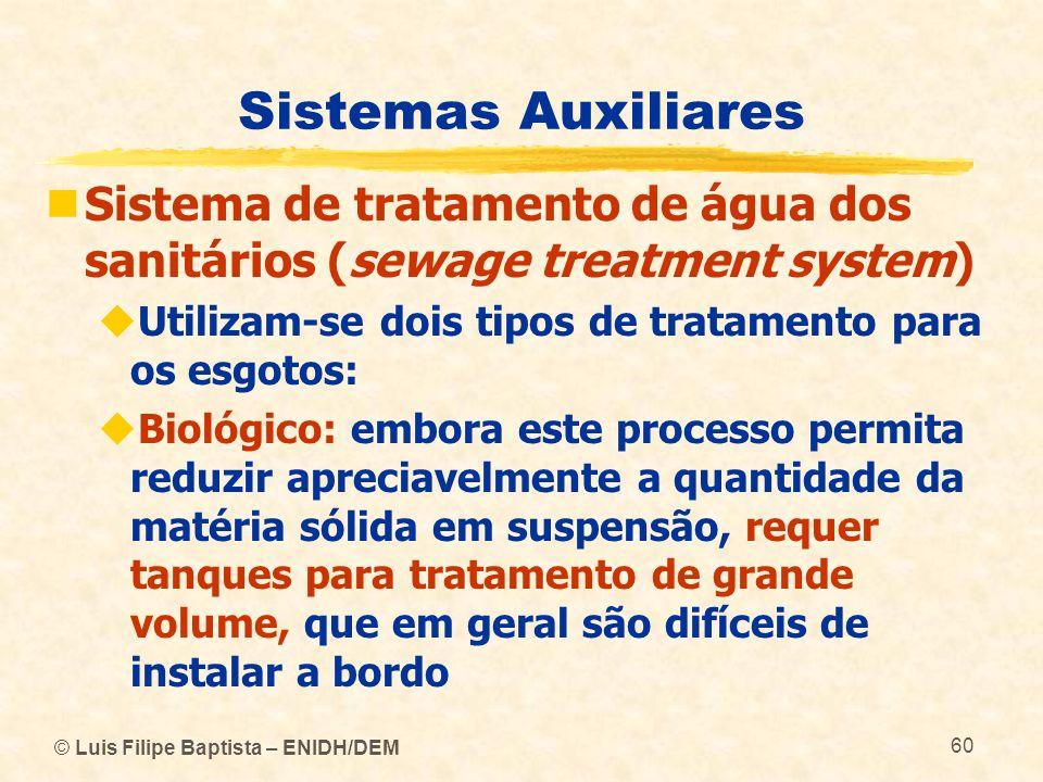 © Luis Filipe Baptista – ENIDH/DEM 60 Sistemas Auxiliares Sistema de tratamento de água dos sanitários (sewage treatment system) Utilizam se dois tipo