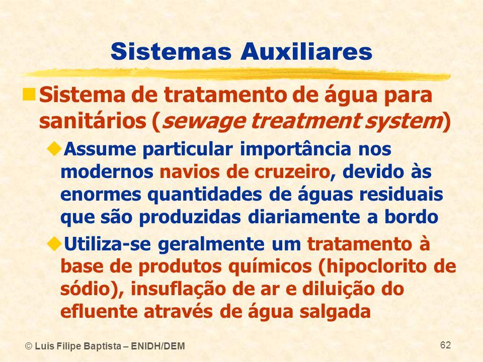 © Luis Filipe Baptista – ENIDH/DEM 62 Sistemas Auxiliares Sistema de tratamento de água para sanitários (sewage treatment system) Assume particular im