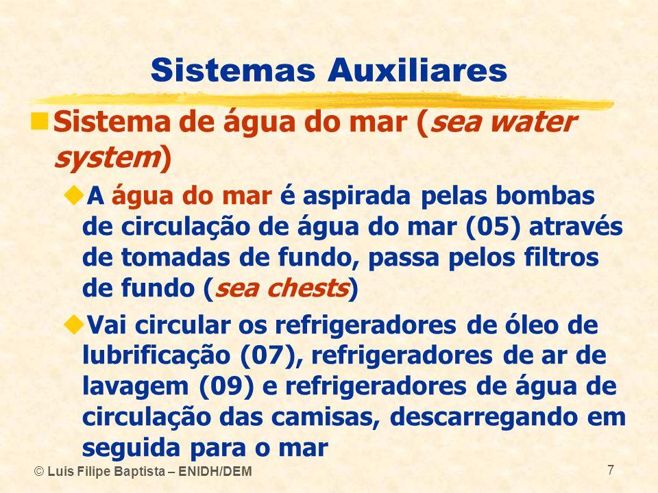 © Luis Filipe Baptista – ENIDH/DEM 7 Sistemas Auxiliares Sistema de água do mar (sea water system) A água do mar é aspirada pelas bombas de circulação