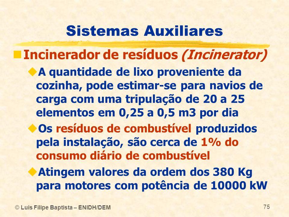 © Luis Filipe Baptista – ENIDH/DEM 75 Sistemas Auxiliares Incinerador de resíduos (Incinerator) A quantidade de lixo proveniente da cozinha, pode esti