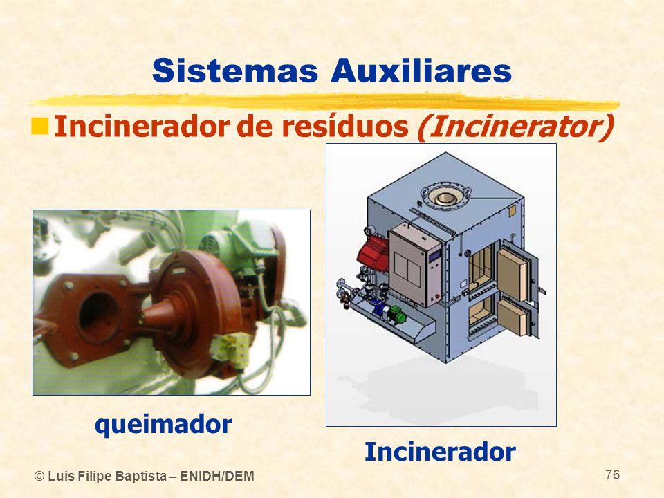 © Luis Filipe Baptista – ENIDH/DEM 76 Sistemas Auxiliares Incinerador de resíduos (Incinerator) queimador Incinerador