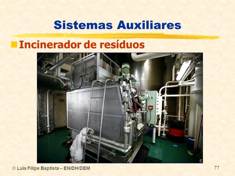 © Luis Filipe Baptista – ENIDH/DEM 77 Sistemas Auxiliares Incinerador de resíduos