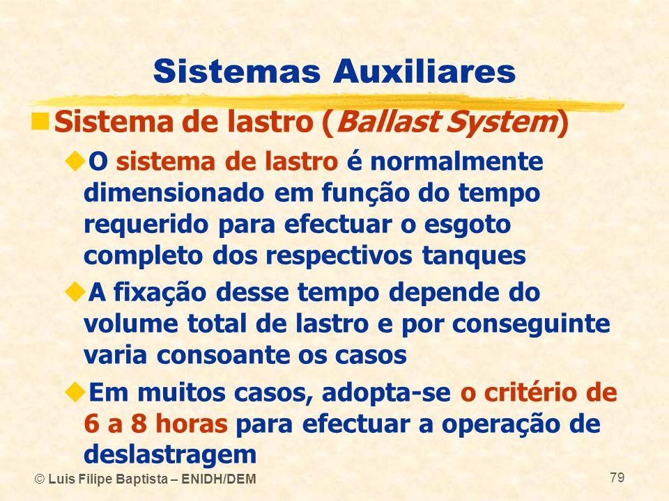 © Luis Filipe Baptista – ENIDH/DEM 79 Sistemas Auxiliares Sistema de lastro (Ballast System) O sistema de lastro é normalmente dimensionado em função