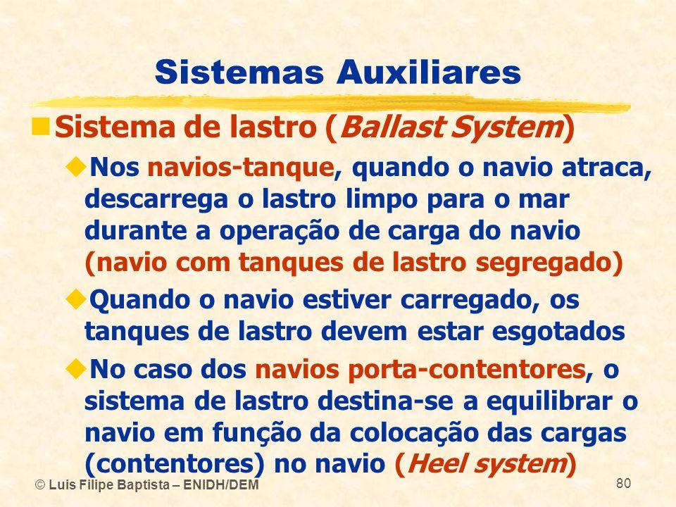 © Luis Filipe Baptista – ENIDH/DEM 80 Sistemas Auxiliares Sistema de lastro (Ballast System) Nos navios-tanque, quando o navio atraca, descarrega o la