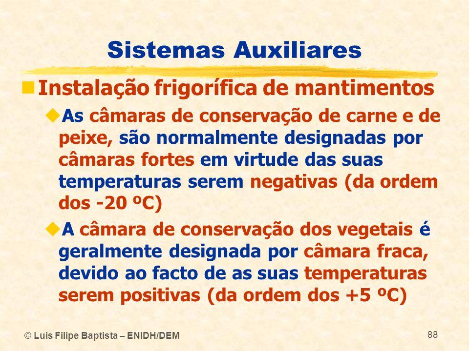 © Luis Filipe Baptista – ENIDH/DEM 88 Sistemas Auxiliares Instalação frigorífica de mantimentos As câmaras de conservação de carne e de peixe, são nor