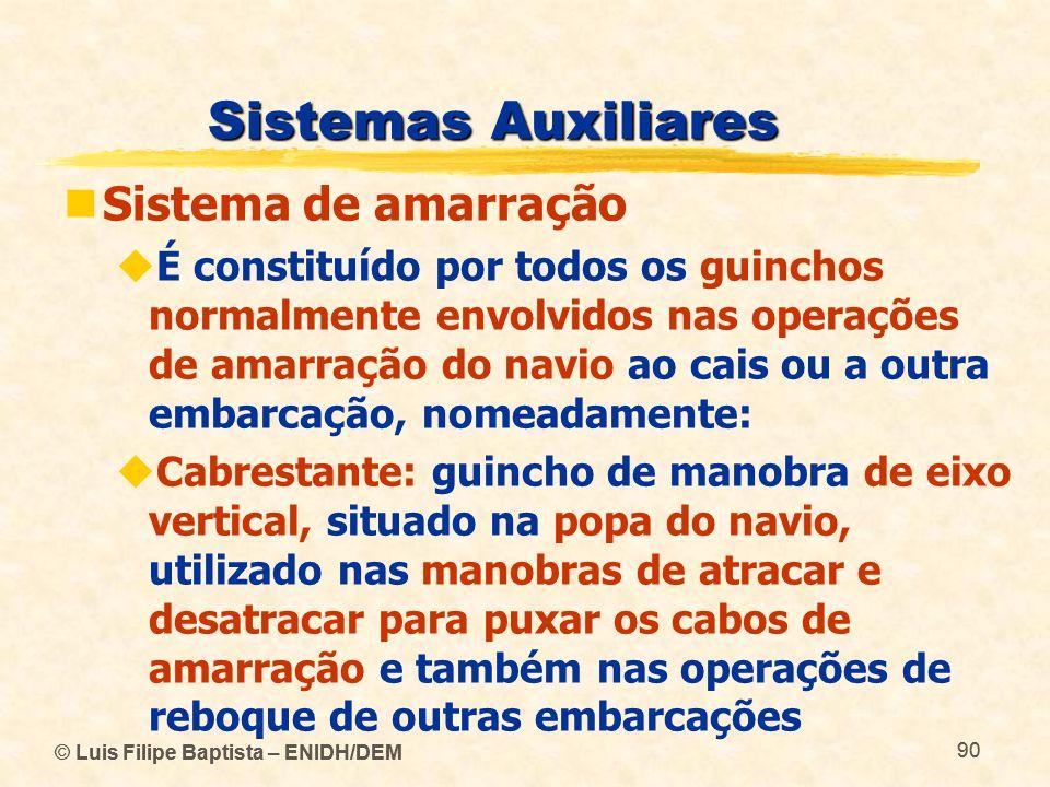 © Luis Filipe Baptista – ENIDH/DEM 90 © Luis Filipe Baptista – ENIDH/DEM 90 Sistemas Auxiliares Sistema de amarração É constituído por todos os guinch