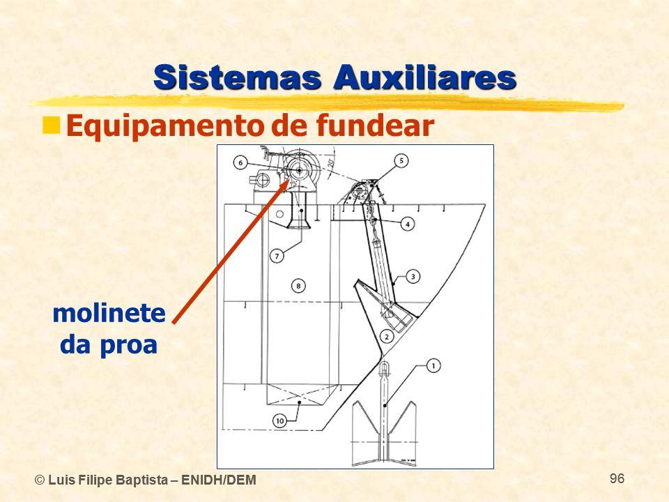 © Luis Filipe Baptista – ENIDH/DEM 96 © Luis Filipe Baptista – ENIDH/DEM 96 Sistemas Auxiliares Equipamento de fundear molinete da proa