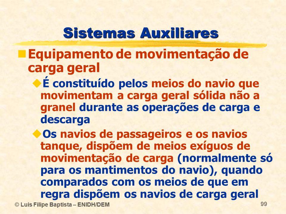 © Luis Filipe Baptista – ENIDH/DEM 99 © Luis Filipe Baptista – ENIDH/DEM 99 Sistemas Auxiliares Equipamento de movimentação de carga geral É constituí