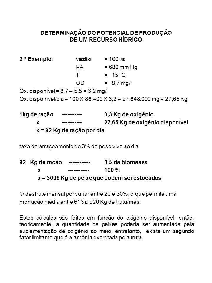 DETERMINAÇÃO DO POTENCIAL DE PRODUÇÃO DE UM RECURSO HÍDRICO 2 o Exemplo: vazão= 100 l/s PA= 680 mm Hg T= 15 ºC OD= 8,7 mg/l Ox. disponível = 8,7 – 5,5