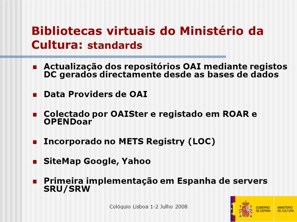 Colóquio Lisboa 1-2 Julho 200816 Bibliotecas virtuais do Ministério da Cultura: standards Actualização dos repositórios OAI mediante registos DC gerad