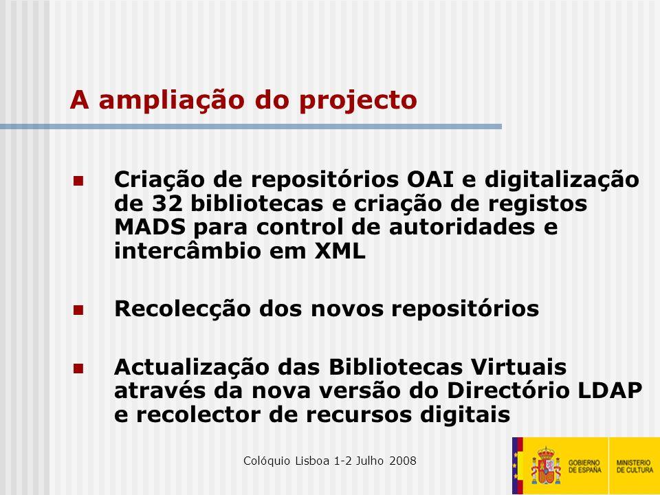 Colóquio Lisboa 1-2 Julho 200827 A ampliação do projecto Criação de repositórios OAI e digitalização de 32 bibliotecas e criação de registos MADS para
