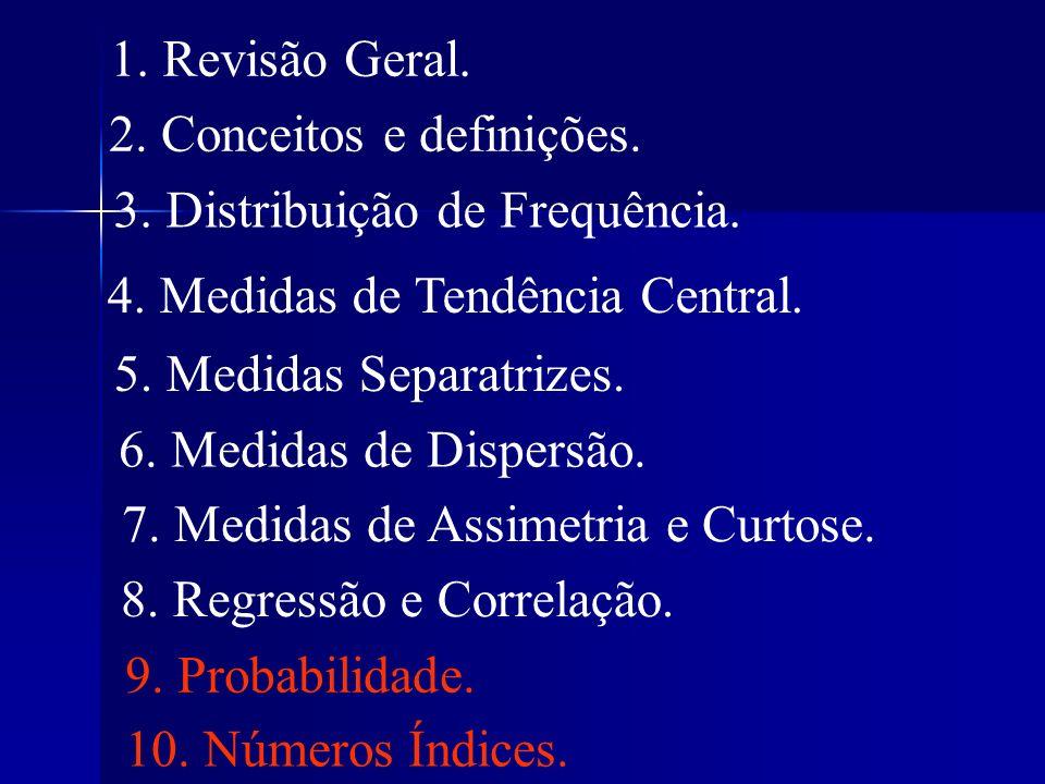 1. Revisão Geral. 2. Conceitos e definições. 3. Distribuição de Frequência. 4. Medidas de Tendência Central. 5. Medidas Separatrizes. 6. Medidas de Di