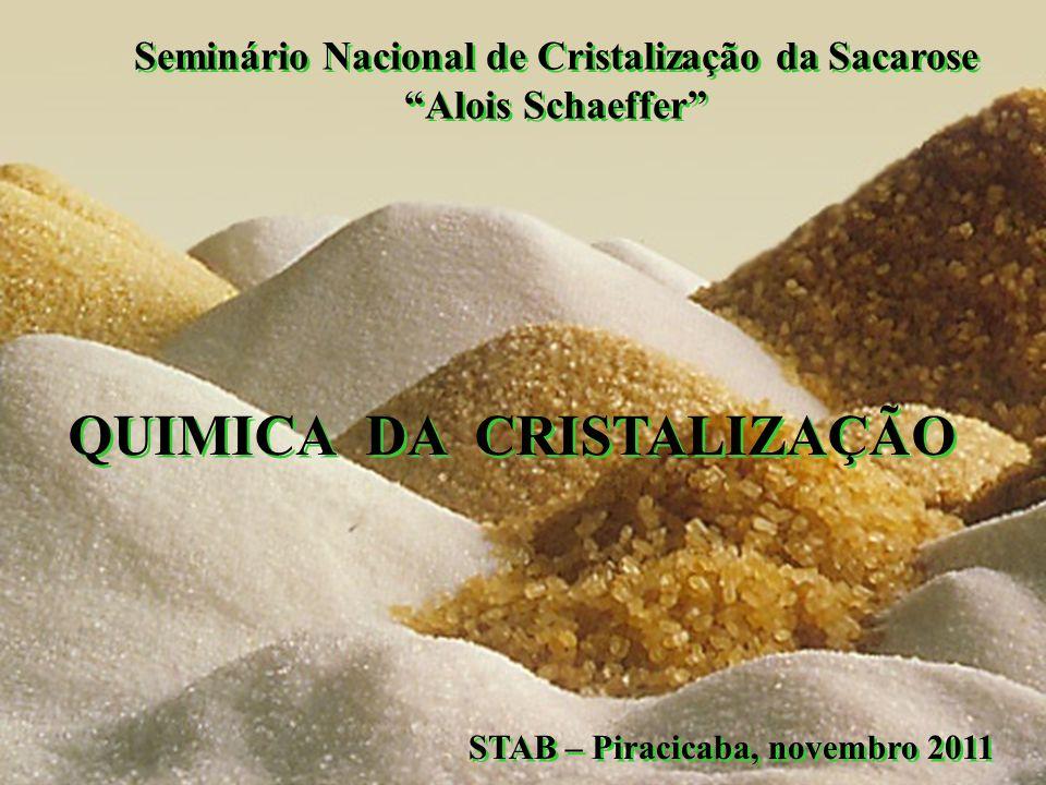 QUIMICA DA CRISTALIZAÇÃO STAB – Piracicaba, novembro 2011 Seminário Nacional de Cristalização da Sacarose Alois Schaeffer Seminário Nacional de Crista