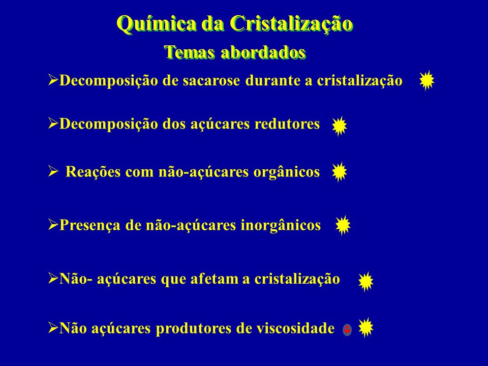 Química da Cristalização Temas abordados Química da Cristalização Temas abordados Não açúcares produtores de viscosidade Não- açúcares que afetam a cr