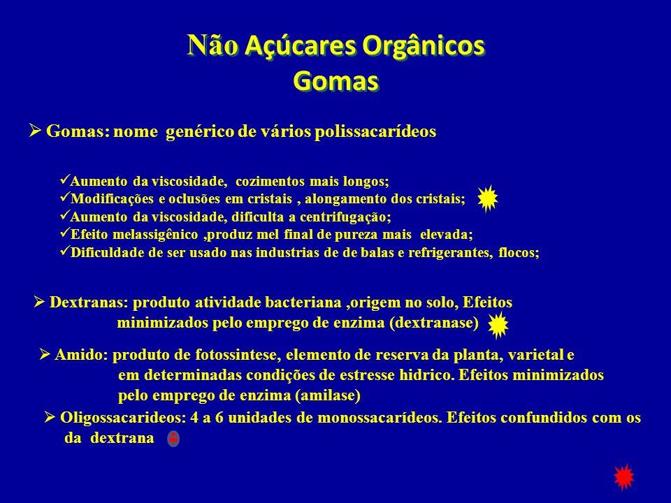 Não Açúcares Orgânicos Gomas Gomas: nome genérico de vários polissacarídeos Dextranas: produto atividade bacteriana,origem no solo, Efeitos minimizado