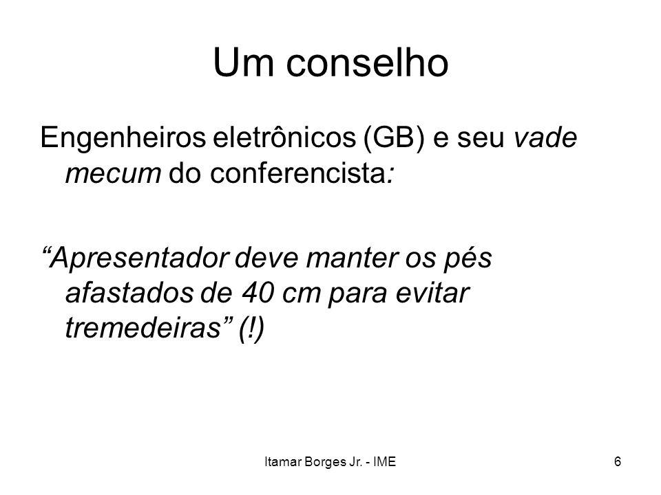 Itamar Borges Jr. - IME6 Um conselho Engenheiros eletrônicos (GB) e seu vade mecum do conferencista: Apresentador deve manter os pés afastados de 40 c