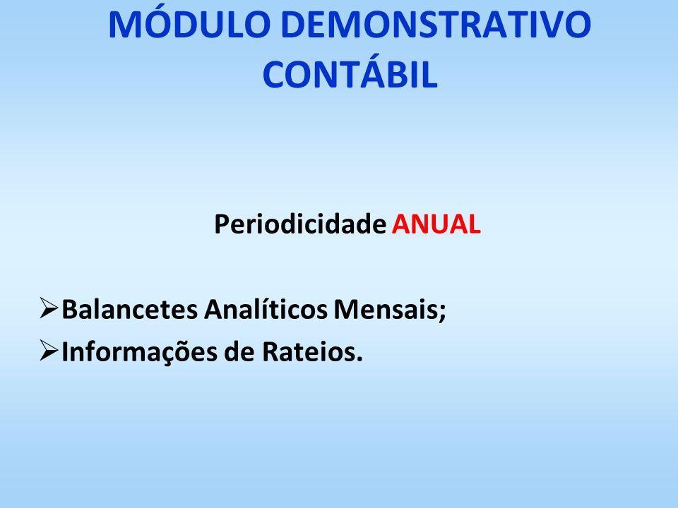 MÓDULO DEMONSTRATIVO CONTÁBIL Periodicidade ANUAL Balancetes Analíticos Mensais; Informações de Rateios.
