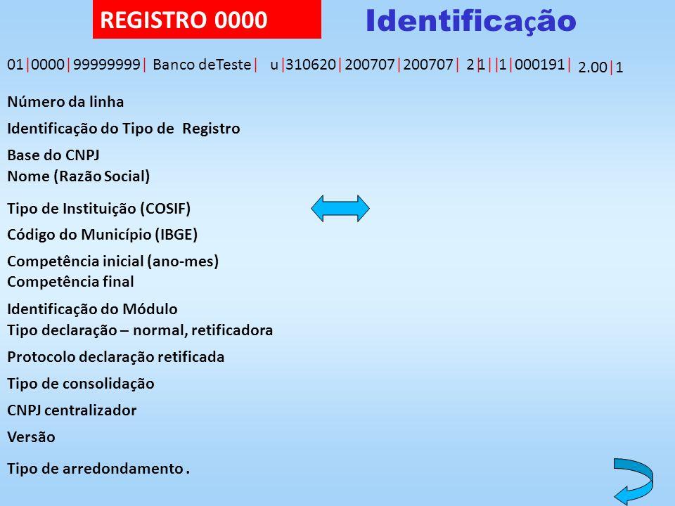 2.00| Identifica ç ão 01|0000|99999999|Banco deTeste|u|u|310620|200707|200707|2|2|1|1||1|1|000191| 1 Número da linha Identificação do Tipo de Registro