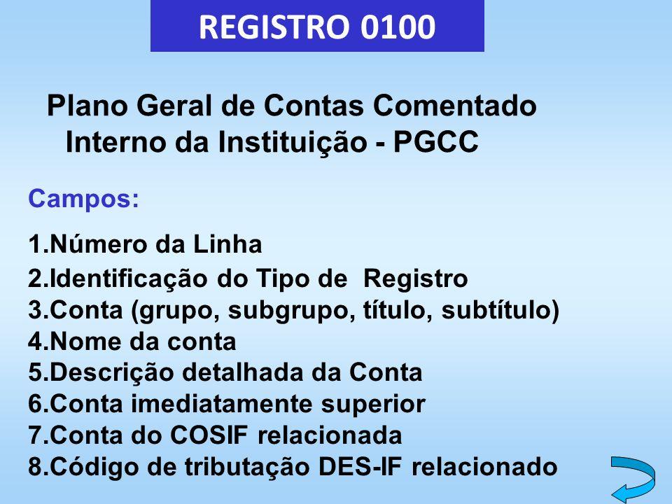 REGISTRO 0100 Plano Geral de Contas Comentado Interno da Instituição - PGCC Campos: 1.Número da Linha 2.Identificação do Tipo de Registro 3.Conta (gru