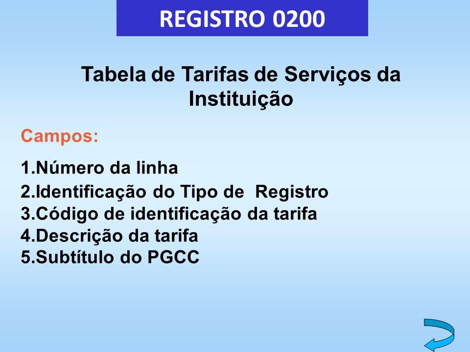 REGISTRO 0200 Tabela de Tarifas de Serviços da Instituição Campos: 1.Número da linha 2.Identificação do Tipo de Registro 3.Código de identificação da
